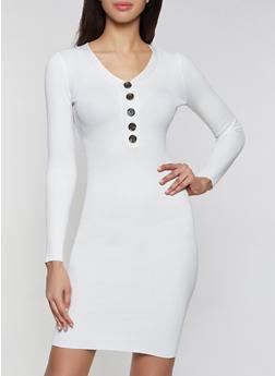 Half Button Midi Sweater Dress - 3412015996760