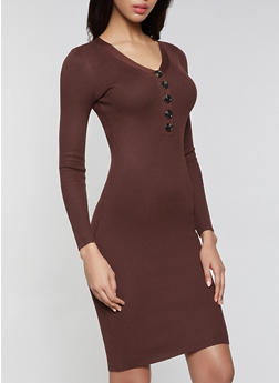 Half Button Midi Sweater Dress - 3412015996760