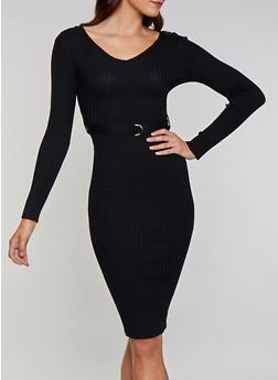 Long Sleeve V Neck Sweater Dress - 3412015996770