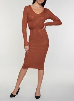 Long Sleeve V Neck Sweater Dress - 3412015996770