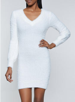 Solid Eyelash Knit Sweater Dress - 3412015997080