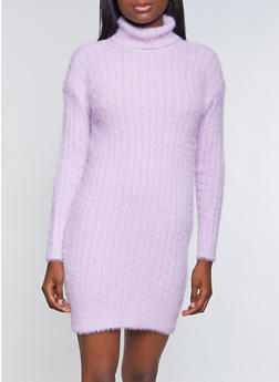 Solid Eyelash Knit Turtleneck Sweater Dress - 3412015997400