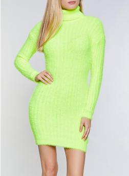 Solid Eyelash Knit Turtleneck Sweater Dress - 3412015997400