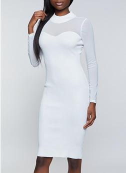 Mesh Yoke Sweater Dress - 3412015997840