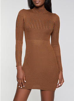 Ribbed Knit Mock Neck Sweater Dress - 3412015997880