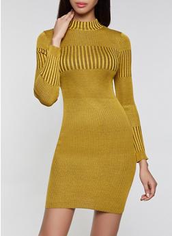 Ribbed Knit Mock Neck Sweater Dress - 3412015997880