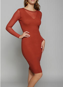 Mesh Detail Rib Knit Bodycon Dress - 3412015997910