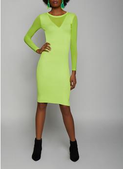 Mesh Detail Rib Knit Bodycon Dress - 3412015997910