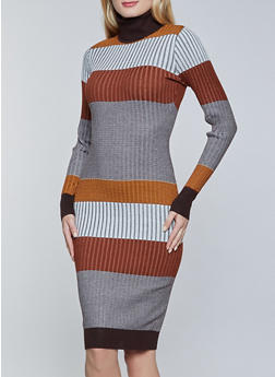 Striped Turtleneck Sweater Dress - 3412015998280