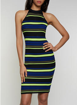 Striped Sleeveless Sweater Dress - 3412015999510