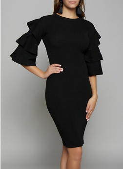 Tiered Sleeve Sweater Dress - 3412062702700