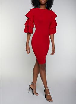 Tiered Sleeve Sweater Dress - 3412062702700