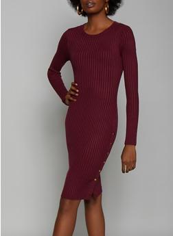 Snap Side Rib Knit Sweater Dress - 3412062702710