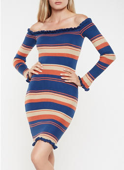 Striped Off the Shoulder Sweater Dress - 3412062707086