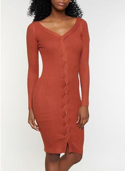 Braided Sweater Dress - 3412069390087