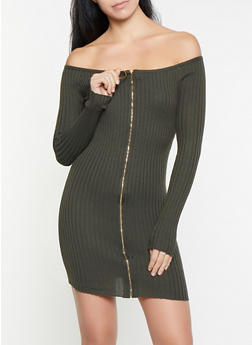 Off the Shoulder Zip Front Sweater Dress - 3412069390764
