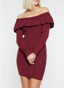 Ruffle Off the Shoulder Sweater Dress - 3412069391600
