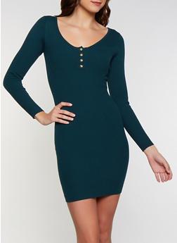 Snap Button Neck Sweater Dress - 3412069391693