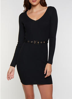 Belted Sweater Dress - 3412069391694