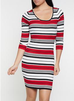 Striped Sweater Dress - 3412069396002