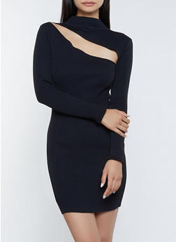 Cut Out Ribbed Bodycon Dress - 3412072298511
