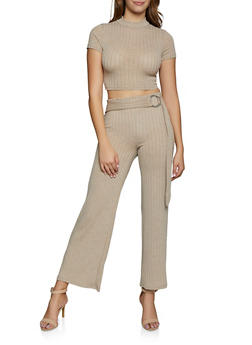 Rib Knit Crop Top and Flared Pants Set - 3413015990325