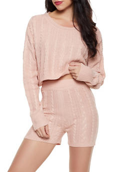 Cable Knit Cropped Sweater and Bike Shorts - 3413015990499