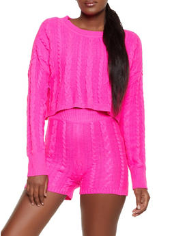 Cable Knit Cropped Sweater and Bike Shorts - FUCHSIA - 3413015990499