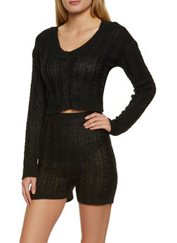 Cable Knit Sweater and Bike Shorts - 3413015990989