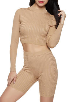 Cable Knit Bike Shorts and Sweater Set - 3413015994095