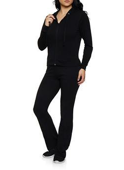 Solid Sweatshirt and Sweatpants Set - 3413038201018
