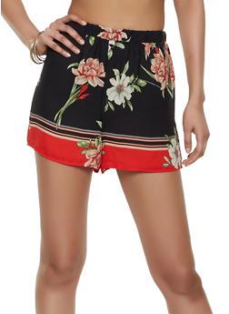 Floral Border Print Shorts - 3413054210841