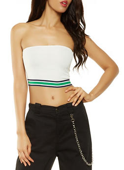 Striped Tape Trim Tube Top - 3413054212553