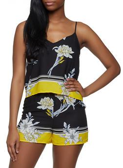 Floral Border Print Cami - 3413054212665
