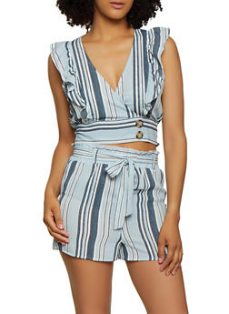 Striped Ruffle Faux Wrap Top - 3413054212701