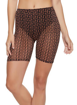 Geometric Print Bike Shorts - 3413054213011