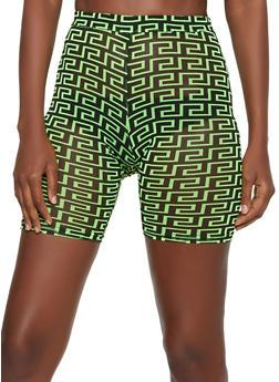 Geometric Print Bike Shorts - GREEN - 3413054213011