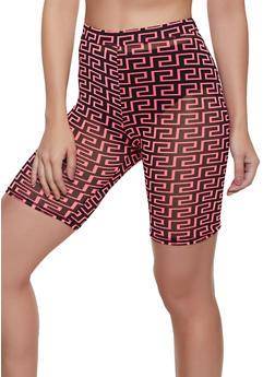 Geometric Print Bike Shorts - NEON PINK - 3413054213011