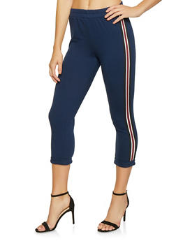 Striped Tape Trim Cropped Sweatpants - 3413054218883