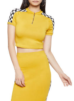 Checkered Trim Crop Top - 3413061350795