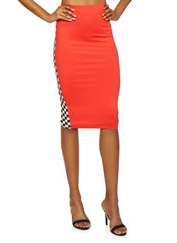 Checkered Trim Skirt - 3413061354225