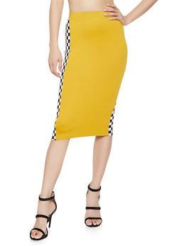 Checkered Trim Skirt - 3413061354225