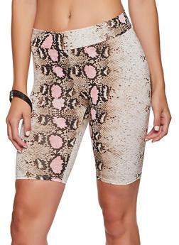 Snake Print Bike Shorts - 3413061354242