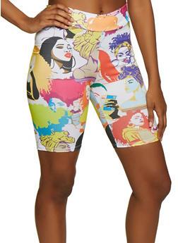 Afro Print Bike Shorts - 3413061355001