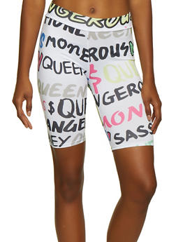 Text Print Bike Shorts - 3413061356324