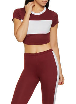 Color Block Crop Top - 3413061357779