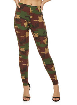 Soft Knit Camouflage Leggings - 3413061359146