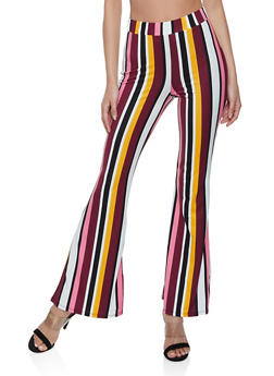Multi Color Striped Soft Knit Flared Pants - 3413061359696