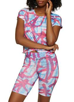 Tie Dye Newspaper Print Tee - 3413061359817