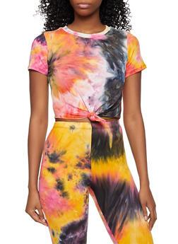 Knot Front Tie Dye Crop Top - 3413062125010
